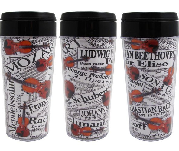 View larger image of Composer Sheet Music and Violins Travel Tumbler - 16oz