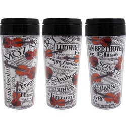 Composer Sheet Music and Violins Travel Tumbler - 16oz