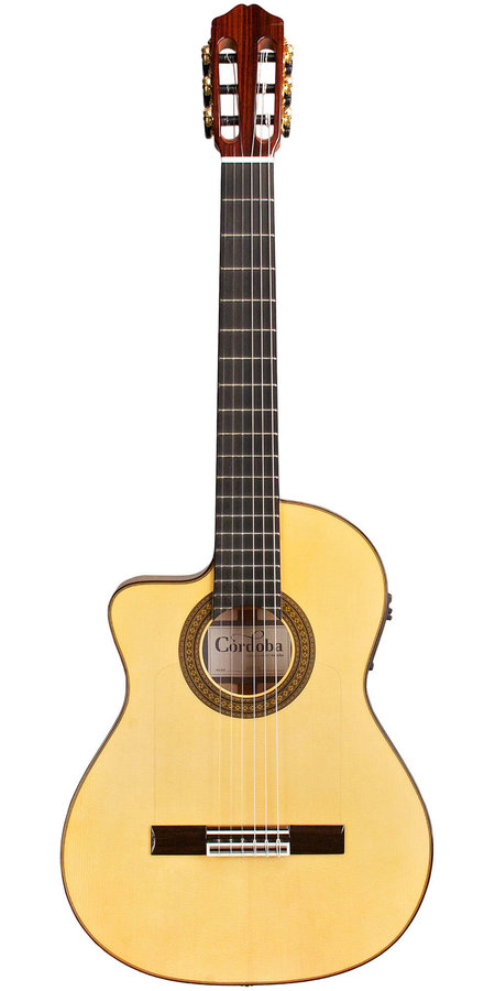 View larger image of Cordoba 55FCE Cutaway Classical-Electric Thinbody Guitar - Honey Amber, Left