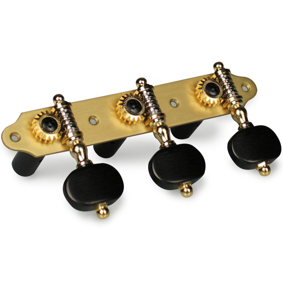View larger image of Cordoba Master Series Tuning Machines - Brushed Bronze with Ebony Buttons, Treble Side