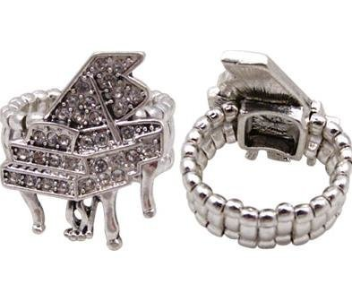 View larger image of Crystal Grand Piano Stretch Ring - Silver