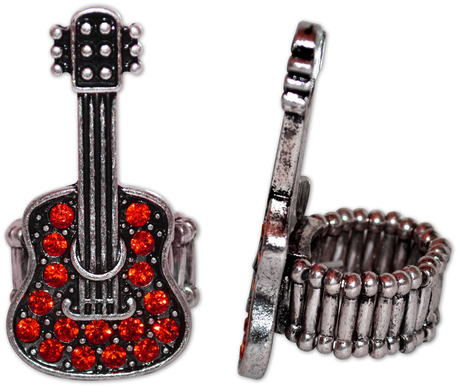 View larger image of Crystal Guitar Stretch Ring - Red/Silver