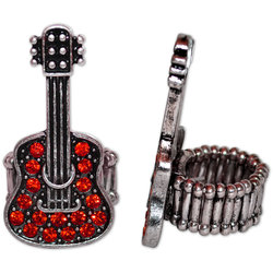 Crystal Guitar Stretch Ring - Red/Silver