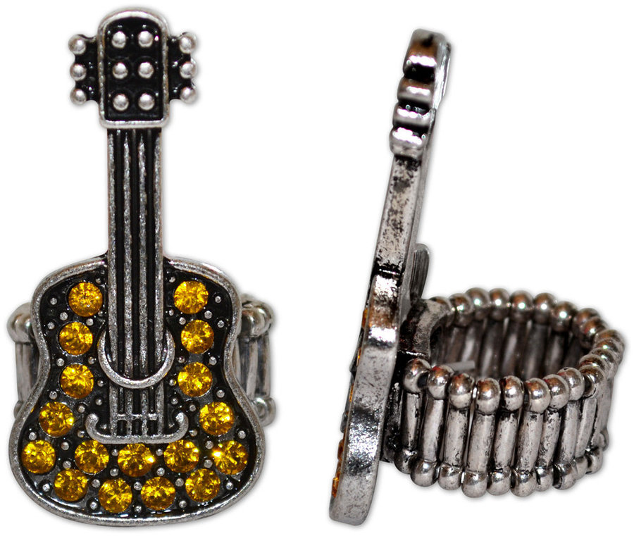View larger image of Crystal Guitar Stretch Ring - Yellow/Silver