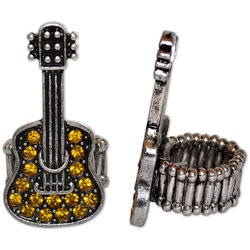 Crystal Guitar Stretch Ring - Yellow/Silver