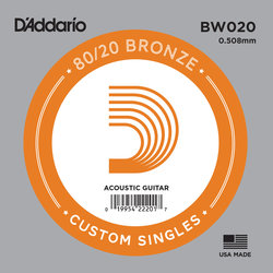 D'Addario 80/20 Bronze Wound Acoustic Guitar String - 20