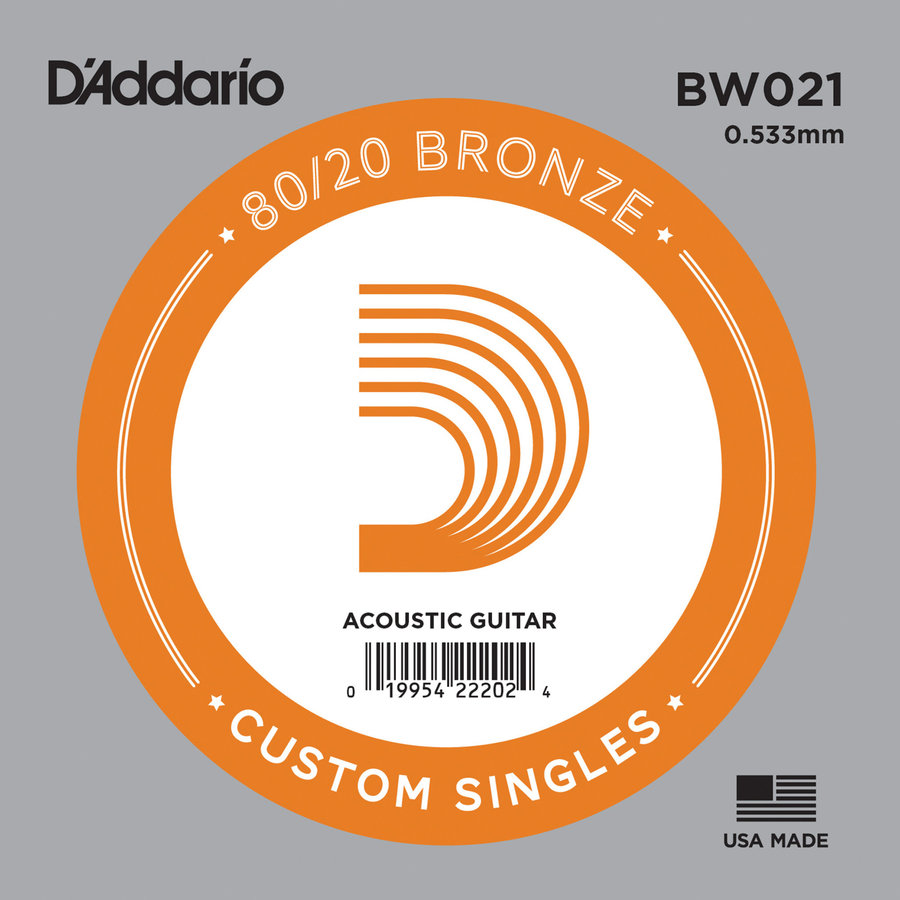 View larger image of D'Addario 80/20 Bronze Wound Acoustic Guitar String - 21