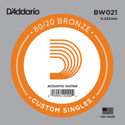 D'Addario 80/20 Bronze Wound Acoustic Guitar String - 21