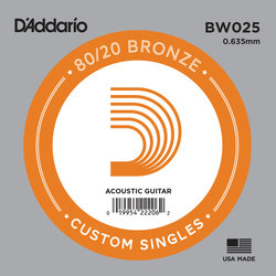 D'Addario 80/20 Bronze Wound Acoustic Guitar String - 25
