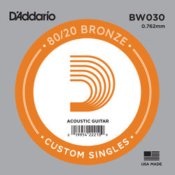 D'Addario 80/20 Bronze Wound Acoustic Guitar String - 30