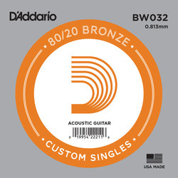 D'Addario 80/20 Bronze Wound Acoustic Guitar String - 32