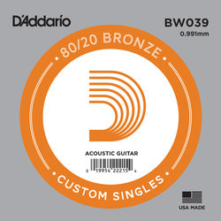 D'Addario 80/20 Bronze Wound Acoustic Guitar String - 39