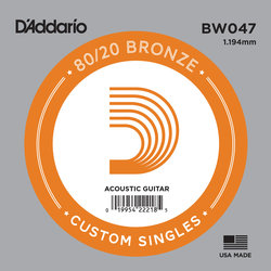 D'Addario 80/20 Bronze Wound Acoustic Guitar String - 47