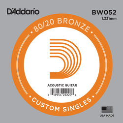 D'Addario 80/20 Bronze Wound Acoustic Guitar String - 52