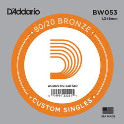 D'Addario 80/20 Bronze Wound Acoustic Guitar String - 53