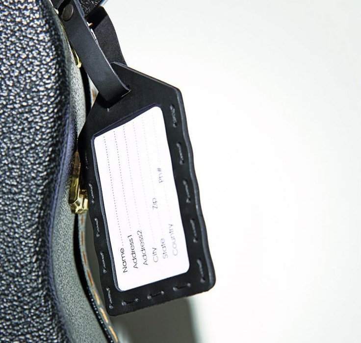 View larger image of D'Addario Black Leather Luggage Tag with Logo