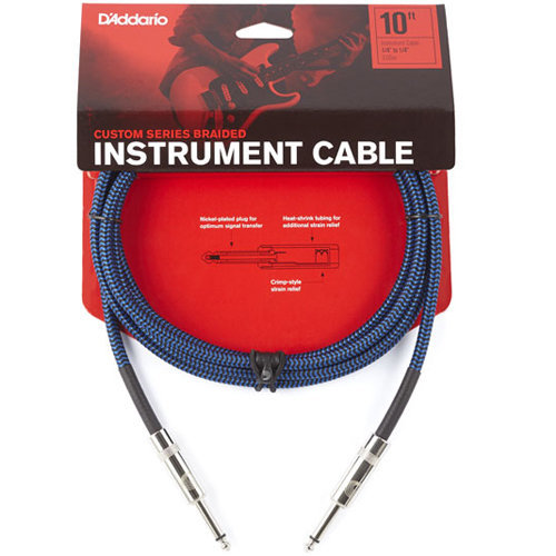 View larger image of D'Addario Braided Instrument Cable - 10', Blue