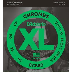 D'Addario ECB80 Chromes Bass Guitar Strings - Super Light, Long Scale
