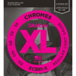 D'Addario ECB81-5 Chromes 5-String Bass Guitar Strings - Regular Light, Long Scale