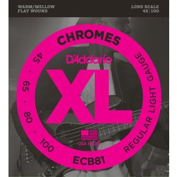 D'Addario ECB81 Chromes Bass Guitar Strings - Regular Light, Long Scale