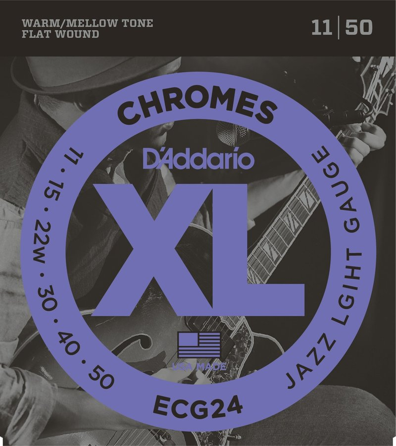 View larger image of D'Addario ECG24 Chromes Flat Wound Electric Guitar Strings - Jazz Light 11-50