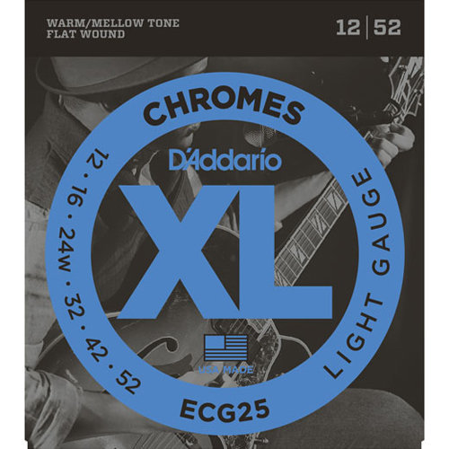 View larger image of D'Addario ECG25 Chromes Flat Wound Electric Guitar Strings - Light 12-52