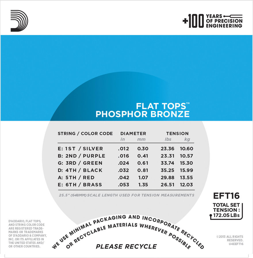 View larger image of D'Addario EFT16 Flat Tops Acoustic Guitar Strings - Light, 12-53