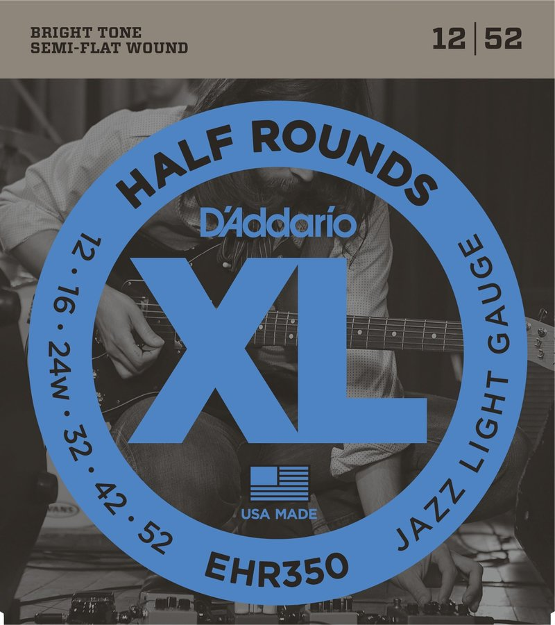 View larger image of D'Addario EHR350 Half Rounds Electric Guitar Strings - Jazz Light 12-52
