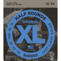 D'Addario EHR350 Half Rounds Electric Guitar Strings - Jazz Light 12-52