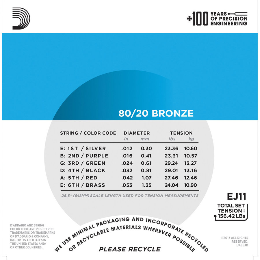 View larger image of D'Addario EJ11 80/20 Bronze Acoustic Guitars Strings - Light, 12-53