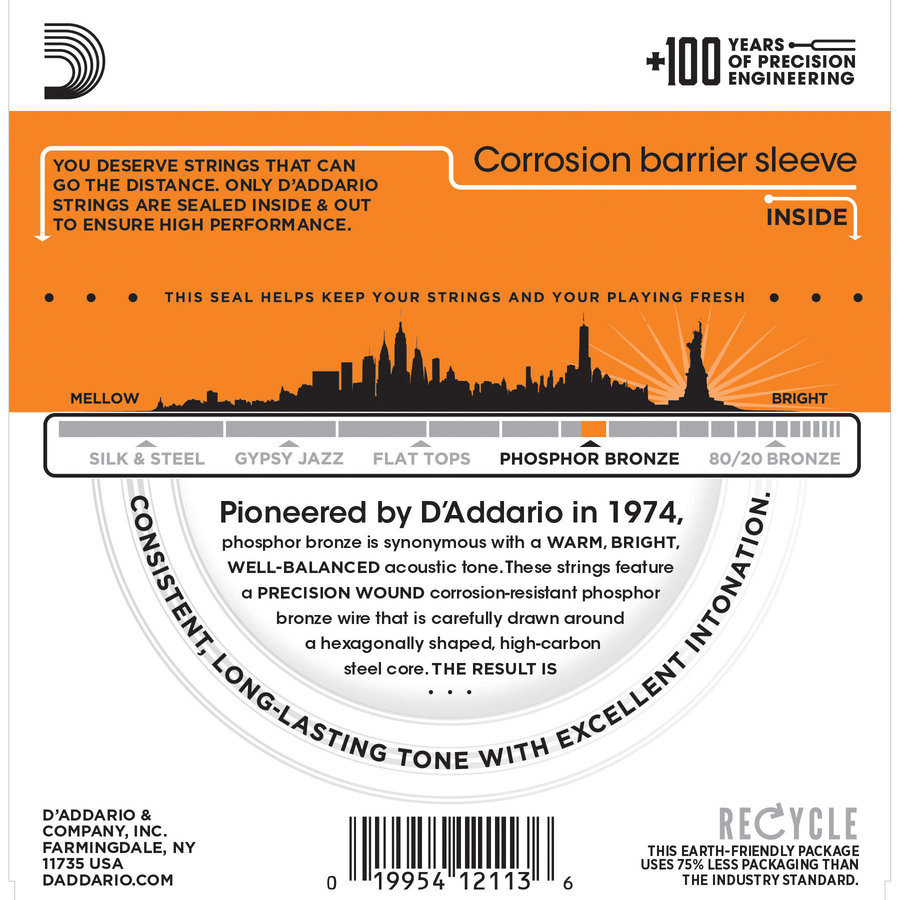 View larger image of D'Addario EJ15 Phosphor Bronze Acoustic Guitars Strings - Extra Light 10-47