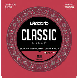 D'Addario EJ27N Silverplated Wound Clear Nylon Classical Guitar Strings - Normal Tension