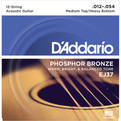 D'Addario EJ37 Phosphor Bronze 12-String Acoustic Guitar Strings - Medium Top / Heavy Bottom, 12-54