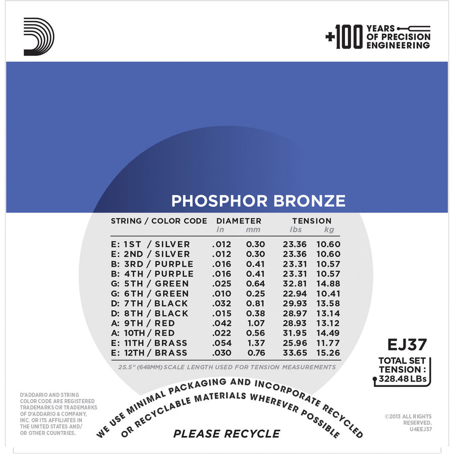 View larger image of D'Addario EJ37 Phosphor Bronze 12-String Acoustic Guitar Strings - Medium Top / Heavy Bottom, 12-54
