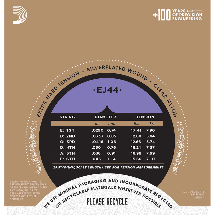 View larger image of D'Addario EJ44 Pro-Arte Silverplated Wound Clear Nylon Classical Guitar Strings - Extra-Hard Tension