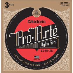 D'Addario EJ45 Pro-Arte Nylon Classical Guitar Strings - 3 Pack
