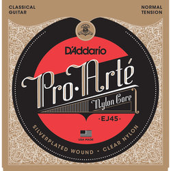 D'Addario EJ45 Pro-Arte Silverplated Wound Clear Nylon Classical Guitar Strings - Normal Tension