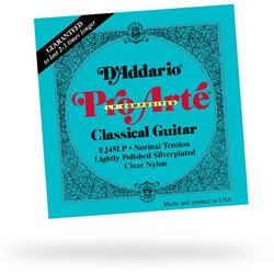 D'Addario EJ45LP Pro-Arte Lightly Polished Composite Silverplated Wound Clear Nylon Classical Guitar Strings - Normal Tension
