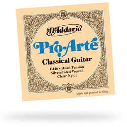 D'Addario EJ46 Pro-Arte Silverplated Wound Clear Nylon Classical Guitar Strings - Hard Tension