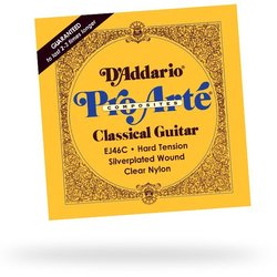 D'Addario EJ46C Pro-Arte Composite Silverplated Wound Clear Nylon Classical Guitar Strings - Hard Tension