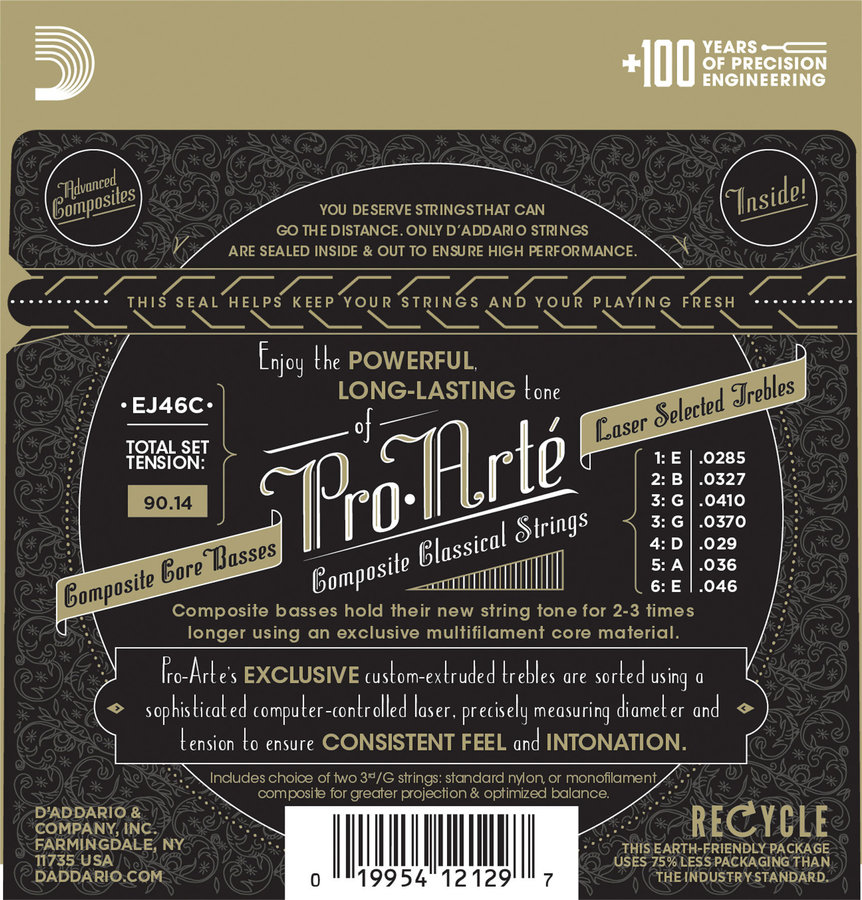 View larger image of D'Addario EJ46C Pro-Arte Composite Silverplated Wound Clear Nylon Classical Guitar Strings - Hard Tension
