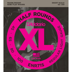 D'Addario ENR71S Half Rounds Bass Guitar Strings - Regular Light 45-100, Short Scale