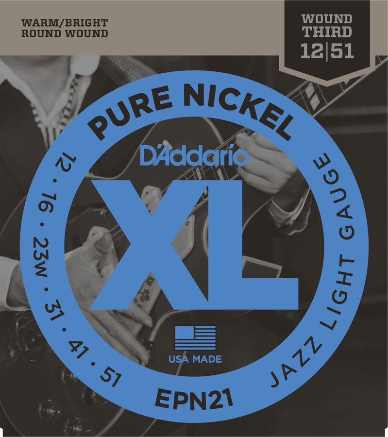 View larger image of D'Addario EPN21 Pure Nickel Electric Guitar Strings - Jazz Light 12-52