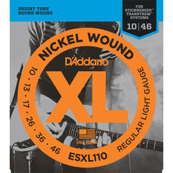 D'Addario ESXL110 Nickel Wound Double Ball-End Electric Guitar Strings Calibrated for Steinberger - Regular Light, 10-46