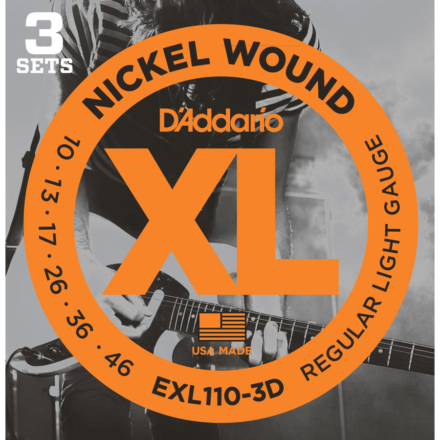 View larger image of D'Addario EXL110 XL Nickel Wound Electric Guitar Strings - Regular Light, 10-46, 3 Pack