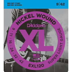 D'Addario EXL120 Nickel Wound Electric Guitar Strings - Super Light, 9-42