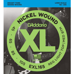 D'Addario EXL165 Nickel Wound Bass Guitar Strings - Custom Light 45-105, Long Scale