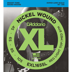 D'Addario EXL165SL Nickel Wound Bass Guitar Strings - Custom Light 45-105, Super Long Scale