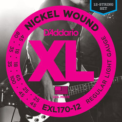 D'Addario EXL170-12 Nickel Wound 12-String Bass Guitar Strings - Light 18-45