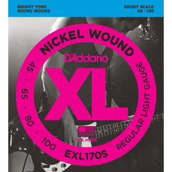 D'Addario EXL170S Nickel Wound Bass Guitar Strings - Light 45-100, Short Scale